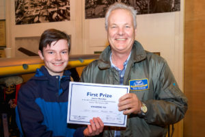 Charlie Jenkins, winner of Best Junior Modeller with judge Peter Holloway