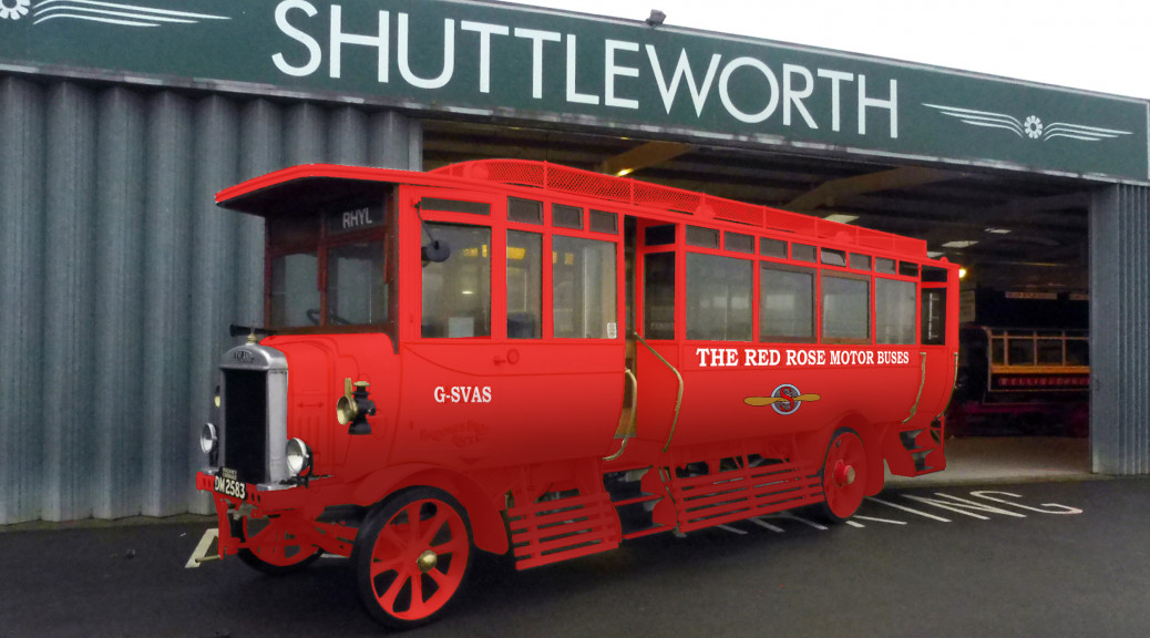 The Leyland 'Red Rose' bus that has recently been repainted at the Shuttleworth Collection.