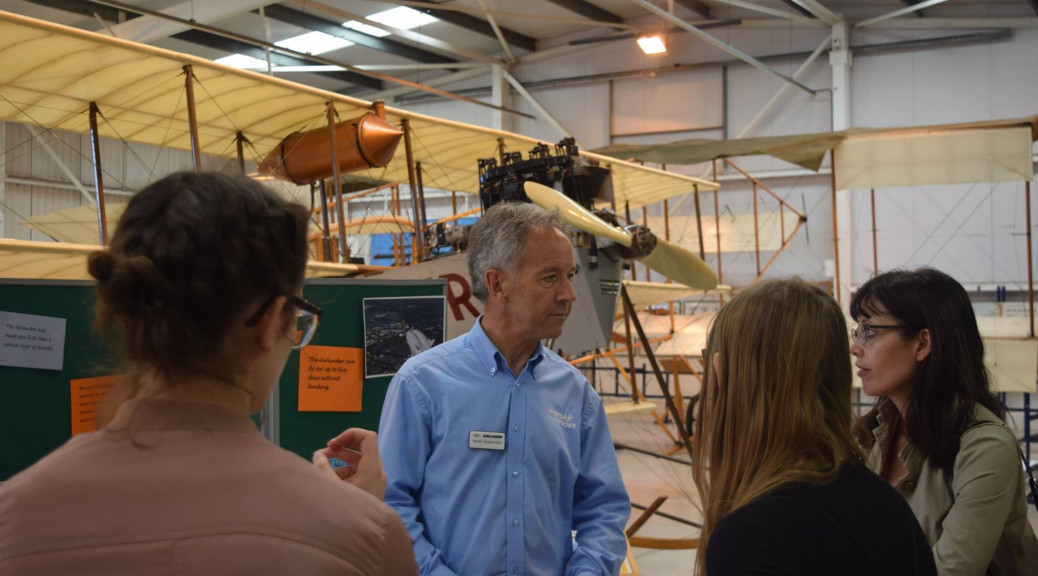 A representative from Hybrid Air Vehicles based at nearby Cardington speaks to interested visitors during the Women in Engineering event held at the Collection on Friday 23rd June 2017 - photograph by Debbie Land