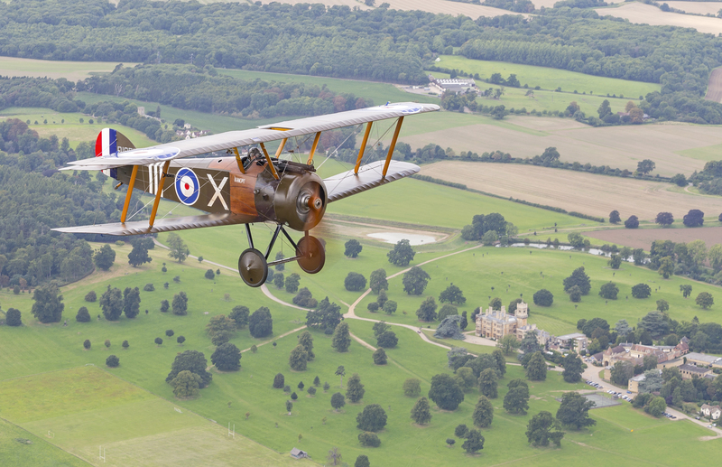 Sopwith Camel replica airborne over Shuttleworth - photograph by Darren Harbar