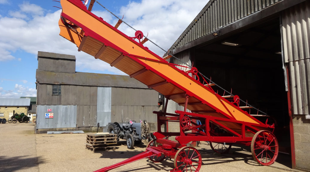 The restored Clayton & Shuttleworth straw elevator was rolled out for the first time on Sunday 18th August 2019